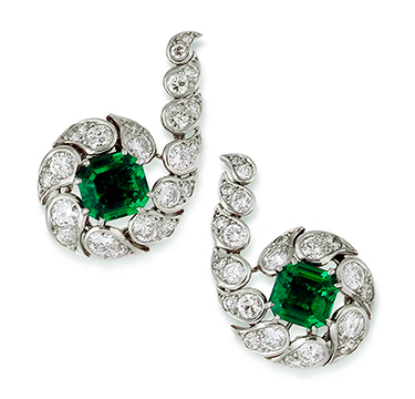 A Pair Of Emerald And Diamond Ear Clips By Cartier Circa 1950