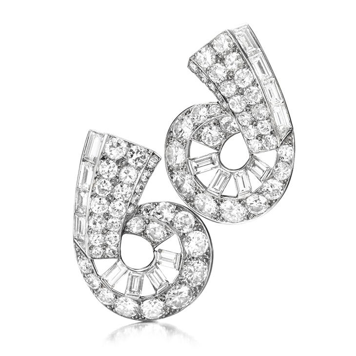 A Pair of Art Deco Diamond Ear Clips, by Cartier, circa 1930