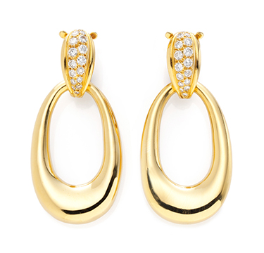 A Pair of Gold and Diamond Ear Pendants, by Cartier