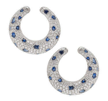 A Pair Of Sapphire And Diamond Panther Ear Clips, By Cartier