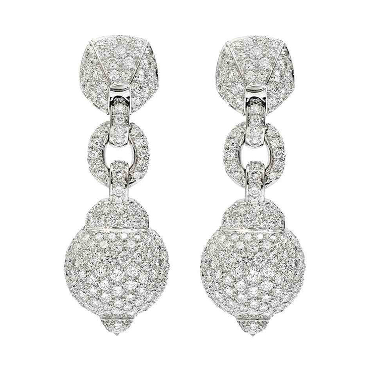 A Pair of Diamond Ear Pendants, by Cartier