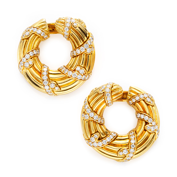 A Pair of Diamond and Gold Creole Ear Clips, by Cartier