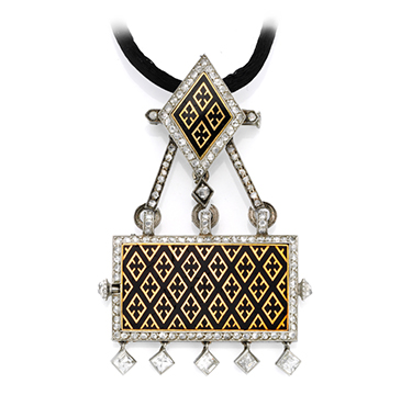 An Art Deco Enamel, Gold and Diamond Watch Pendant Necklace, by Cartier, circa 1920