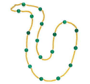 A Chrysoprase And Gold Long Chain, By Cartier, Circa 1970