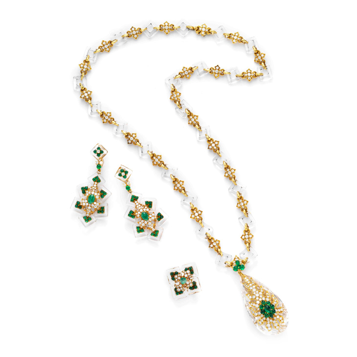 Fd gallery a rock crystal emerald and diamond sautoir and ear a rock crystal emerald and diamond sautoir and ear pendants by cartier aloadofball