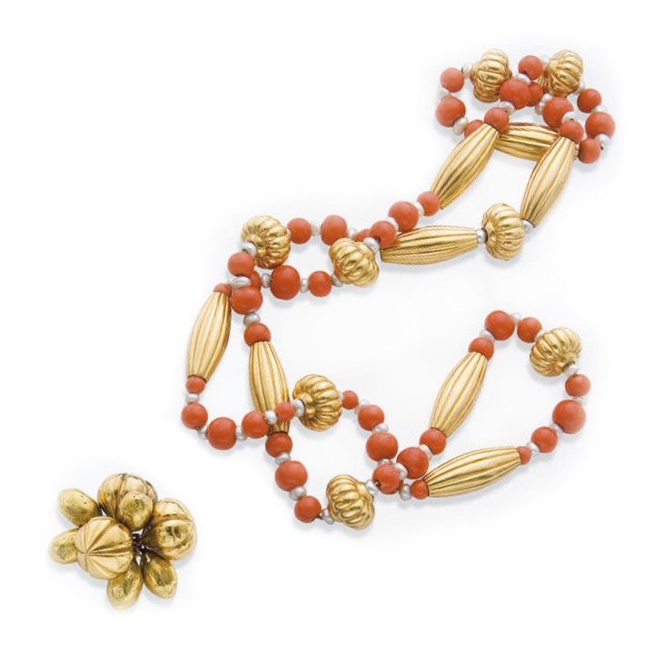 A Coral and Gold Sautoir, by Cartier