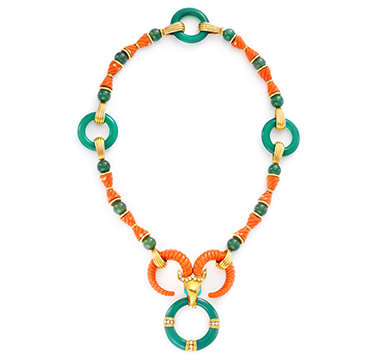 A Coral, Chalcedony and Turquoise Ram Necklace, by Cartier, circa 1975