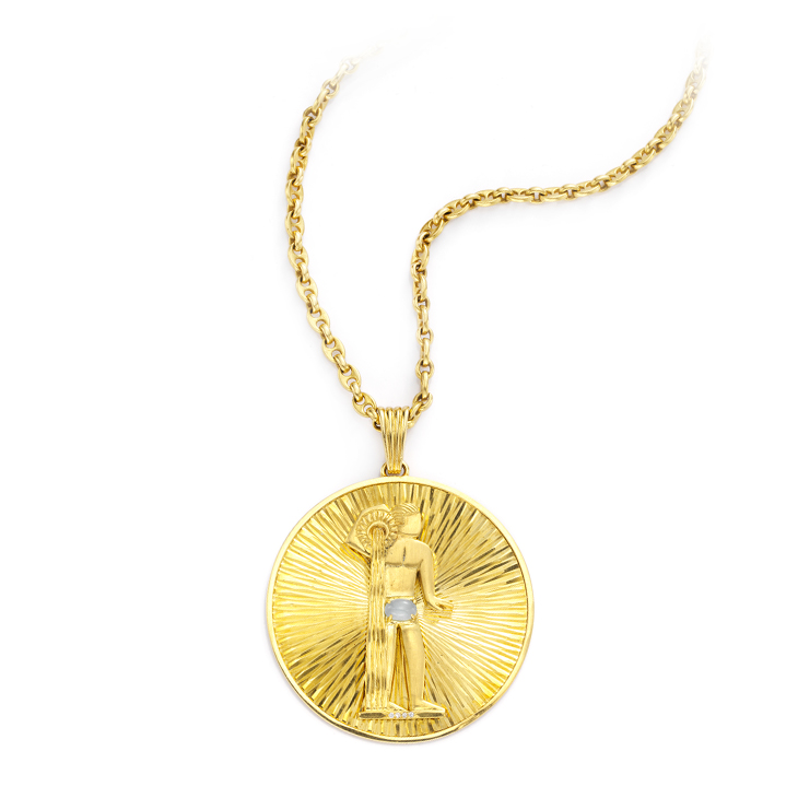 A Gold Aquarius Pendant, circa 1970