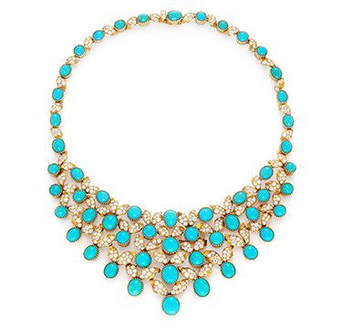 A Turquoise and Circular-cut Diamond Bib Necklace, by Cartier, Paris, circa 1955