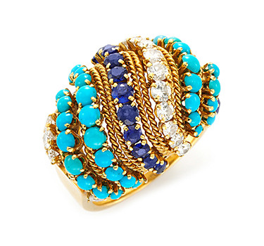 A Turquoise, Sapphire And Diamond Ring, By Van Cleef & Arpels, Circa 1970