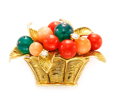 A Coral, Chrysoprase and Diamond Fruit Basket Brooch, by Van Cleef & Arpels, circa 1950