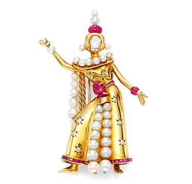 A Retro Ruby, Pearl and Diamond 'Thai Dancer' Brooch, by Van Cleef & Arpels, circa 1945