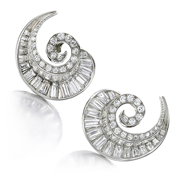 A Pair Of Diamond And Platinum Spiral Ear Clips, By Van Cleef & Arpels, Circa 1940