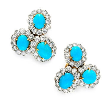 A Pair Of Turquoise And Diamond Ear Clips, By Van Cleef & Arpels, Circa 1960