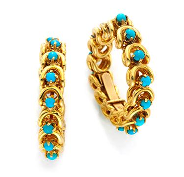 A Pair of Turquiose and Gold Hoop Earrings, by Van Cleef & Arpels, circa 1965