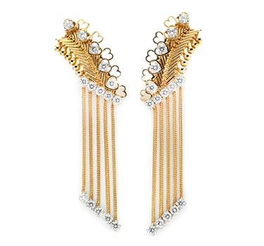 A Pair Of Gold And Diamond 'ZIP' Ear Pendants, By Van Cleef & Arpels