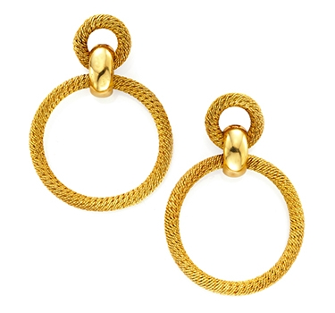 A Pair Of Textured Gold Hoop Ear Pendants, By Van Cleef & Arpels, Circa 1970