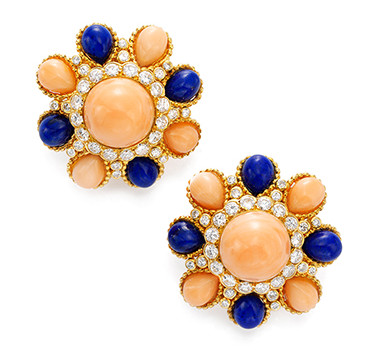 A Pair Of Coral, Lapis Lazuli And Diamond Ear Clips, By Van Cleef & Arpels, Circa 1960