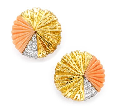 A Pair Of Coral, Diamond And Gold Ear Clips, By Van Cleef & Arpels, Circa 1970