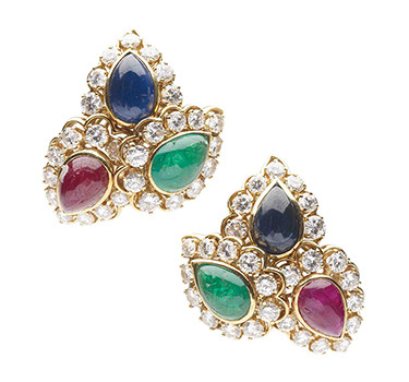 A Pair Of Cabochon Sapphire, Emerald, Ruby And Diamond Ear Clips, By Van Cleef & Arpels, Circa 1960