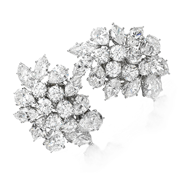 A Pair of Diamond Cluster Ear Clips of approximately 23.70 carats, by Van Cleef & Arpels, circa 2001