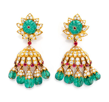 A Pair Of Fluted Emerald Bead, Ruby And Diamond Ear Pendants, By Van Cleef & Arpels, Circa 1963