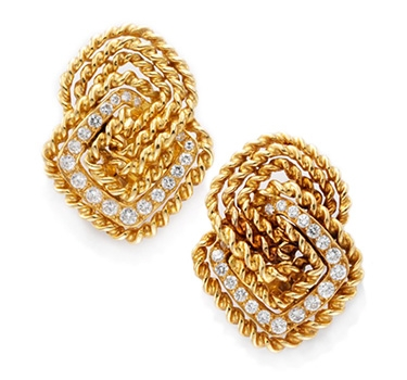 A Pair Of Gold And Diamond Ear Clips, Circa 1970