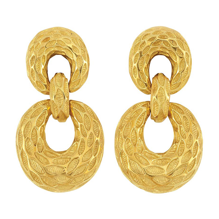 A Pair of Gold Door Knocker Ear Pendants, by Van Cleef & Arpels, circa 1975