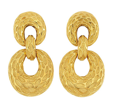 A Pair of Gold Door Knocker Ear Pendants, by Van Cleef & Arpels, circa 1975