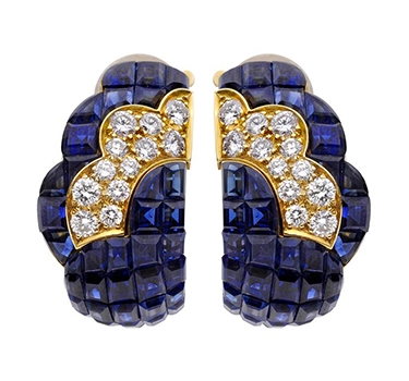 A Pair Of Mystery-Set Sapphire And Diamond Ear Clips, By Van Cleef & Arpels