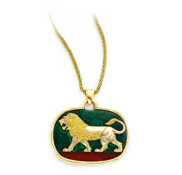 A Multi-gem and Gold Lion Pendant Necklace, by Van Cleef & Arpels, circa 1970