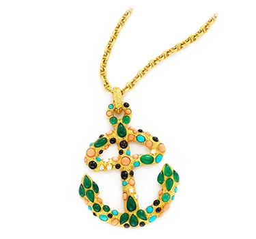 A Coral, Chrysoprase And Diamond Anchor Pendant, Circa 1965