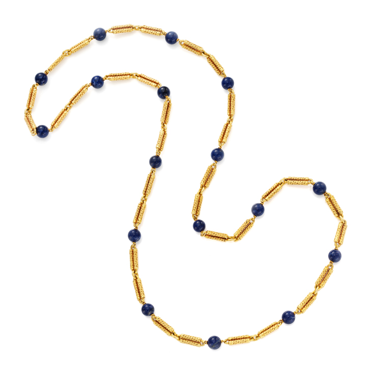 A Lapis Lazuli and Gold Long Chain Necklace, by Van Cleef & Arpels, circa 1960
