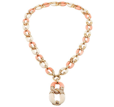 A Bi-colored Coral And Diamond Sautoir, By Van Cleef & Arpels, Circa 1975