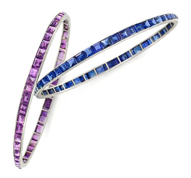 A Pair Of Art Deco Sapphire And Amethyst Bangle Bracelets, By Van Cleef & Arpels, Circa 1920