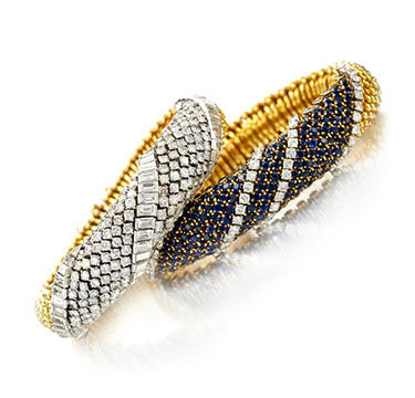 A Pair of Diamond, Sapphire and Gold 'Couscous' Bracelets, by Van Cleef & Arpels, circa 1960