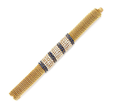 A Sapphire, Diamond and Gold 'Couscous' Bracelet, by Van Cleef & Arpels, circa 1960