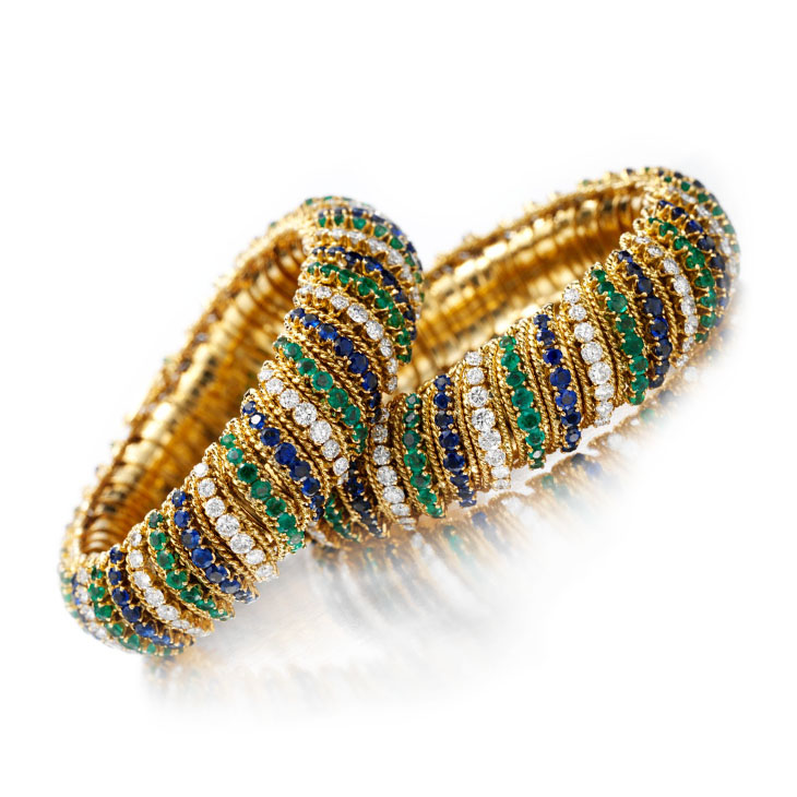 A Pair Emerald, Sapphire and Diamond Bracelets, by Van Cleef & Arpels, circa 1960
