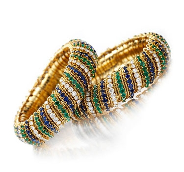 A Pair Emerald, Sapphire And Diamond Bracelets, By Van Cleef & Arpels, Circa 1960