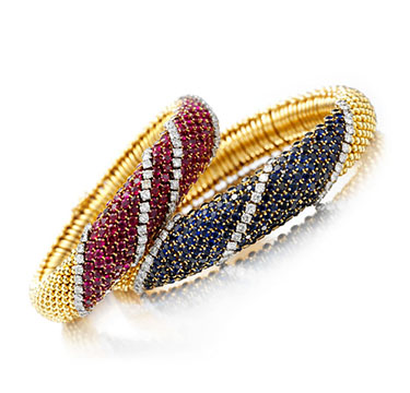 A Pair of Sapphire, Ruby and Diamond Bracelets, by Van Cleef & Arpels, circa 1960