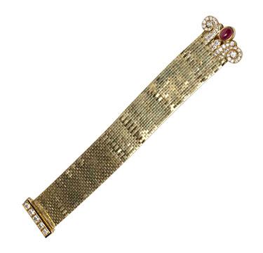 A Retro Ruby and Diamond 'Ludo' Bracelet, by Van Cleef & Arpels, circa 1940