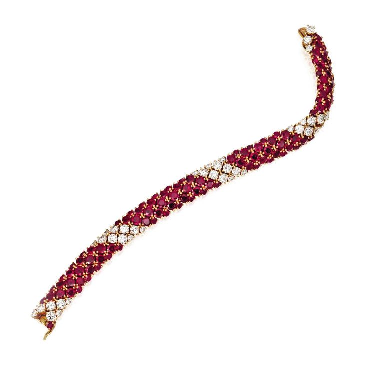 A Ruby and Diamond Bracelet, by Van Cleef & Arpels, circa 1965