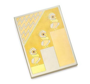 An Art Deco Tri-colored Gold Parrots Cigarette Case, By Van Cleef & Arpels, Circa 1935