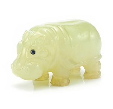 A Russian Carved Hardstone Model of a Baby Hippopotamus, circa 1900, by Faberge