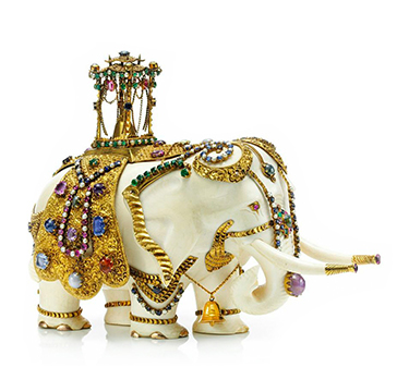 An Antique Multi-gem, Ivory and Gold Elephant Sculpture, 19th Century