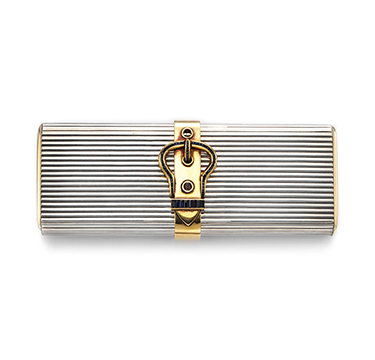 A Silver, Gold and Sapphire Vanity Case, by Hermes, circa 1950