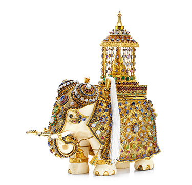 An Antique Multi-Gem and Ivory Elephant, circa 1900