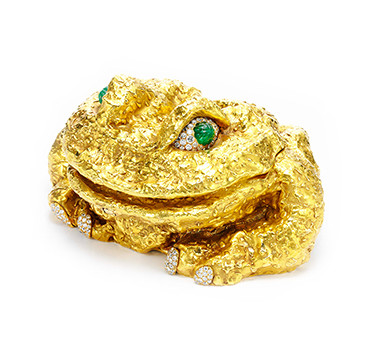 An 18k Gold, Carved Emerald And Circular-cut Diamond Frog Object, By David Webb, Circa 1966
