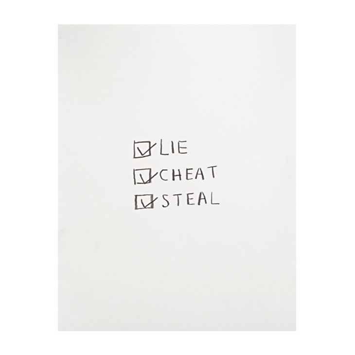 Jack Pierson, 'Lie Cheat and Steal', 1991 pencil on woven paper