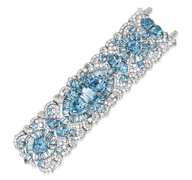 An Art Deco Aquamarine And Diamond Bracelet, Possibly By Paul Flato, Circa 1935